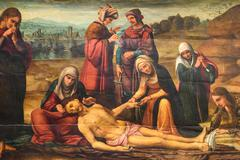 Biblical Scene Painting Of Jesus Crucifixion In Valencia Cathedral Stock Photos