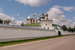 Resurrection monastery in Uglich, walls and churches Stock Photos