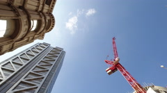Construction Crane next to Heron Tower Stock Footage