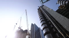Construction in City next to Lloyds Building Stock Footage