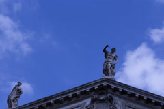Statues on the roof of the house Stock Footage