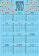 Optimistic floral 2017 calendar that starts with sunday Stock Illustration