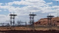 Glen Canyon dam power distribution centertime lapse tight  Stock Footage
