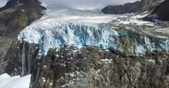 Front of glacier - Big crevasse in hight mountain - Aerial view Stock Footage