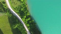 Auronzo Lake Border, aerial view Stock Footage
