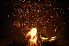 Close up of charcoal burning in fireplace Stock Photos