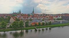 Lubeck aerial view, Germany Stock Footage