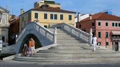Chioggia - Motion view of the Vigo bridge Stock Footage