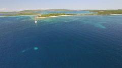 Aerial view of Veli Rat on the Adriatic island Dugi Otok Stock Footage