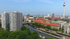 Berlin, aerial view of buildings and Spree river. Going upward Stock Footage
