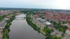 Lubeck panoramic aerial view, Germany Stock Footage