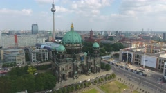 Berlin Cathedral aerial view Stock Footage