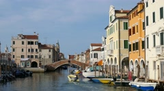 Chioggia - Boat along the Vena canal Stock Footage