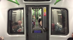 LONDON - MAY 2015: Inside view of London underground in London, UK. London's Stock Footage