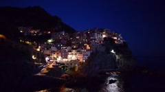 Manarola at night, Five lands – Italy Stock Footage