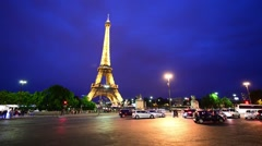 PARIS - MAY 2014: Eiffel Tower at night. This is the most visited landmark of Stock Footage