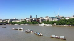 London buildings over Thames river Stock Footage