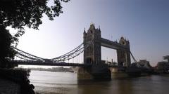 London Tower Bridge in Morning Sun Stock Footage