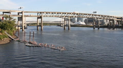 Portland Oregon - swimmers on a pier on the Willamette River 3 Stock Footage