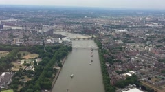 Helicopter view of London buildings and Thames bridges Stock Footage
