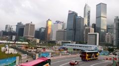 HONG KONG - APRIL 2014: City skyline and traffic. Hong Kong hosts more than 50 Stock Footage