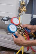 Manometers, equipment for filling air conditioners Stock Photos