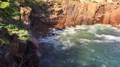 New England foliage Acadia National park rocks and waves Stock Footage