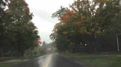 New England foliage driving on a rainy day Stock Footage
