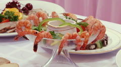 Tasty salad of shrimp with sauce on Swedish table. Stock Footage