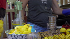 Lemonade cup prepared at a lemonade stall Stock Footage