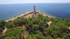 Aerial view of lighthouse of Veli Rat on the island Dugi Otok Stock Footage
