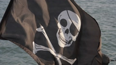 Pirate flag waving in the air Stock Footage