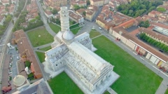 Pisa, panoramic aerial view of Square of Miracles Stock Footage