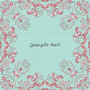 Vector card with floral ornament. Vector illustration. Stock Illustration