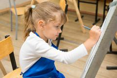 Five-year girl paints on an easel in the drawing lesson Stock Photos