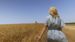Vintage Dress Female in Wheat Field Stock Footage