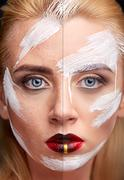 Retouching process before and after photo retouch Stock Photos
