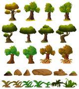 Cartoon nature landscape elements set, trees, stones and grass clip art Stock Illustration