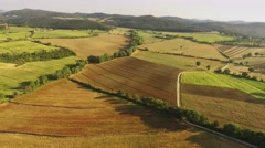 Aerial shot of typical landscape of Umbria - Tuscany in Italy Stock Footage