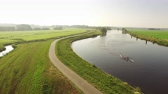 Canoe on typical Dutch river. Stock Footage