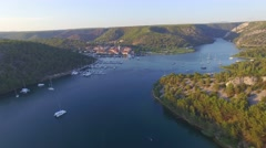Aerial view of old town of Skradin at estuary of the Krka river Stock Footage
