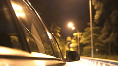 The car drive on the road. Evening night time. Real time capture Stock Footage