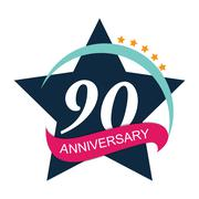 Template Logo 90 Anniversary Vector Illustration Stock Illustration
