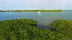 Key West mangroves aerial view with street and ocean Stock Footage