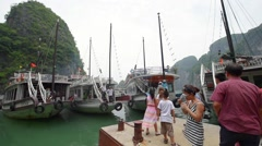 Excursion boats that ferry tourists around the bay Stock Footage