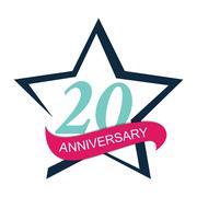 Template Logo 20 Anniversary Vector Illustration Stock Illustration