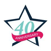 Template Logo 40 Anniversary Vector Illustration Stock Illustration