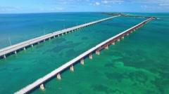 Bahia Honda park aerial view, Florida Stock Footage