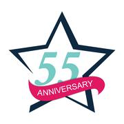 Template Logo 55 Anniversary Vector Illustration Stock Illustration