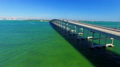 Miami city from Rickenbacker causeway, aerial view Stock Footage